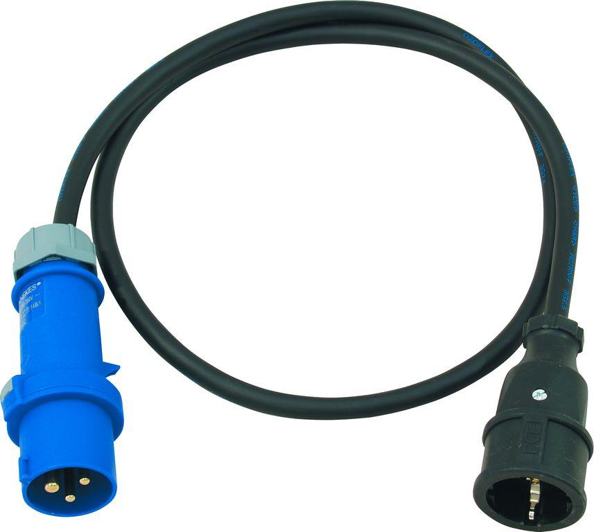 Fotografie PSSO kabel s redukcí CES25, 250 V, 16 A, 3x2,5 mm2, 1,5 m
