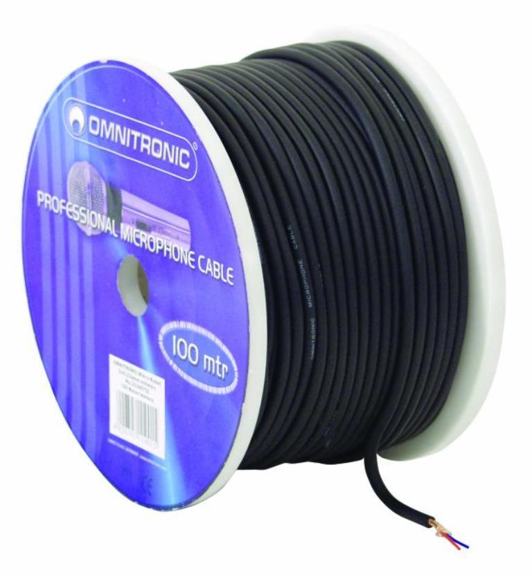 Omnitronic mikrofonní kabel, 2x 0,22qmm stíněný, černý