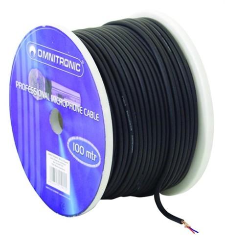 Omnitronic mikrofonní kabel, 100m role, černý, sada XLR konektorů